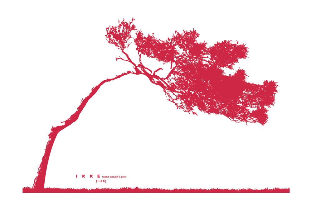 Image of Linen tea towel Lonely tree red