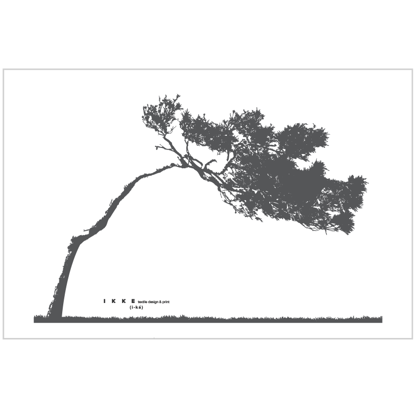 Image of Linen tea towel Lonely tree charcoal