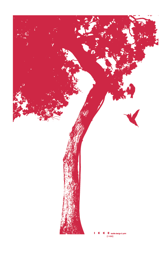 Image of Linen tea towel Big tree red