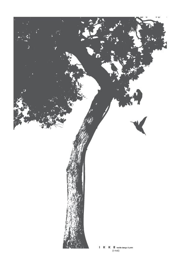 Image of Linen tea towel Big tree charcoal