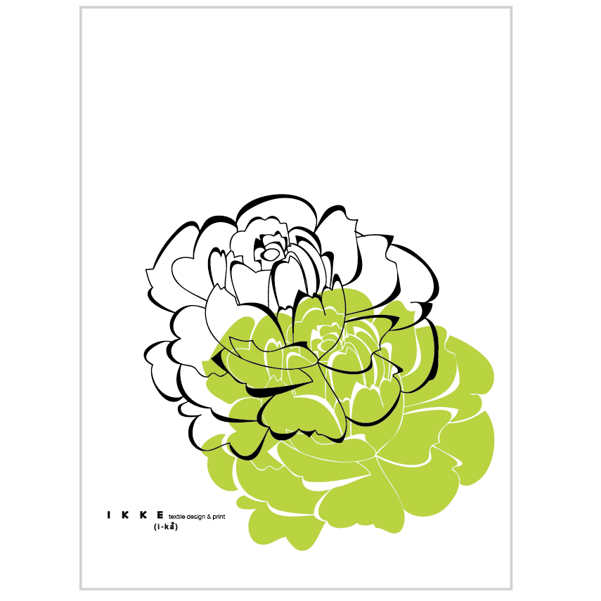 Image of Linen tea towel Big Flower Lime