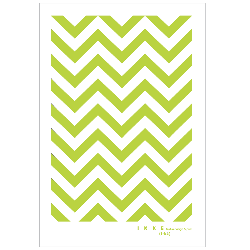 Image of Linen tea towel Chevron lime
