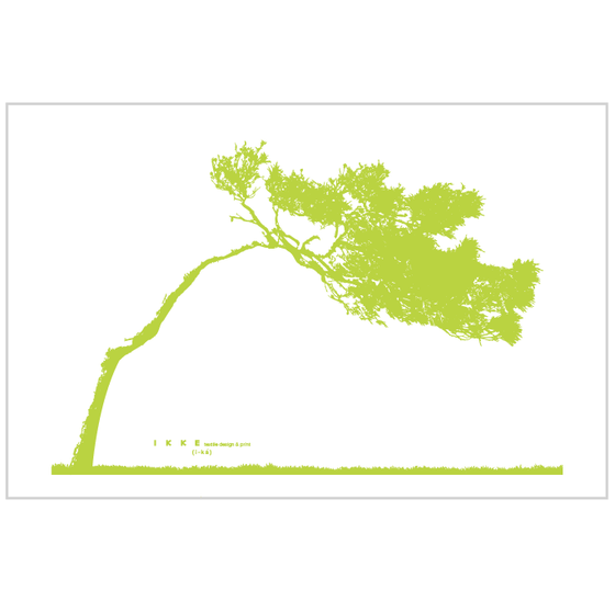 Image of Linen tea towel Lonely tree lime