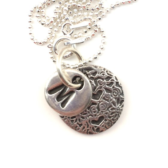 Image of Initial Necklace - Hearts and Flowers