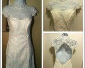 Image of Open Back Bride Dress/Evening gown/Lace dress/White/red
