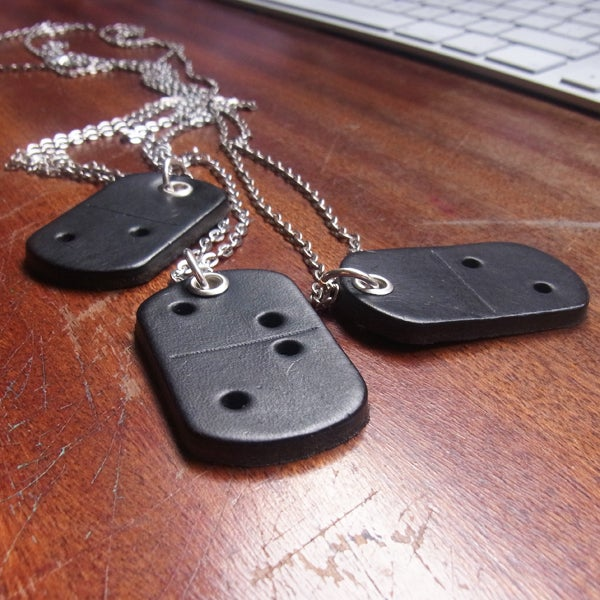 Image of Domino dog tag necklace, black
