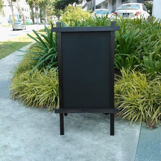 Image of Medium Double Sided Standing Chalkboard With Black Stained Frame (90cm X 60cm)