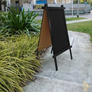 Medium Double Sided Standing Chalkboard With Black Stained Frame (90cm X 60cm)