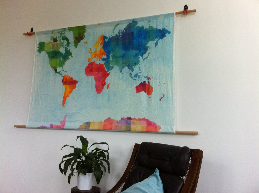 Image of World Map Wall Hanging - small and large
