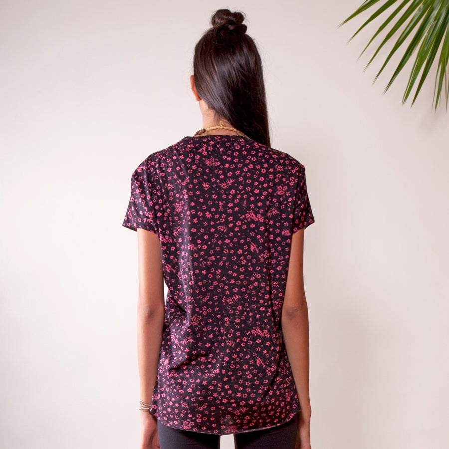 "Image of ""WILDFLOWER"" (BLACK) PIECED T-Shirt (MADAGASCAR EDITION)"