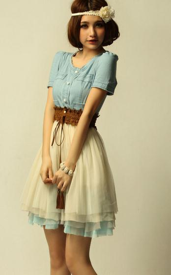 Image of Cute chiffon cowboy hot dress