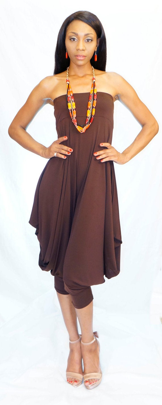 Fashion Designs By Deborah Rose Strapless Convertible Chocolate Buddha Romper