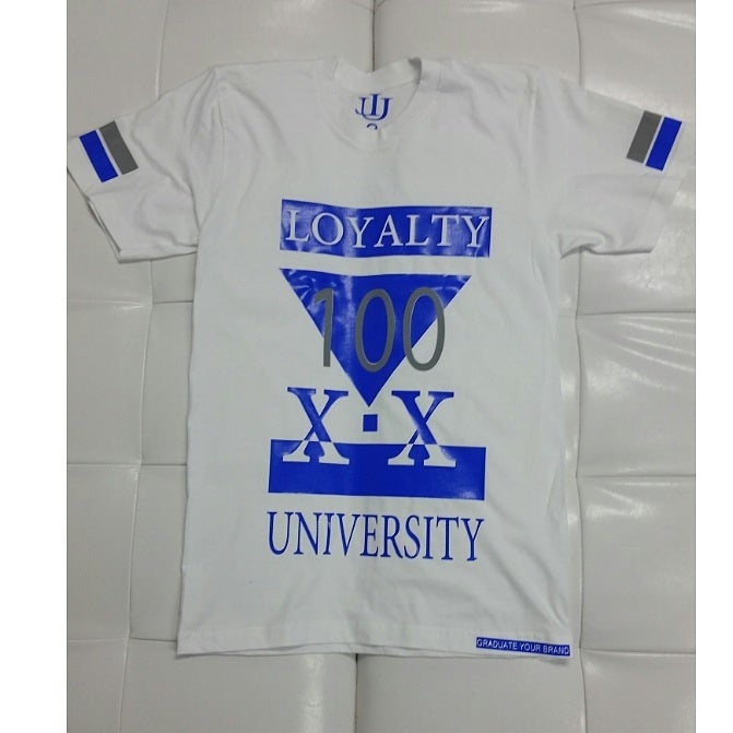 "Image of ""100"" Loyalty University Unisex T-Shirt Royal blue"