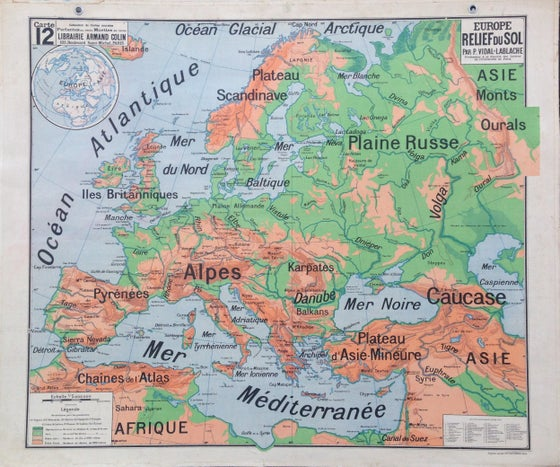 Image of 1960s Physical / Relief Map of Europe