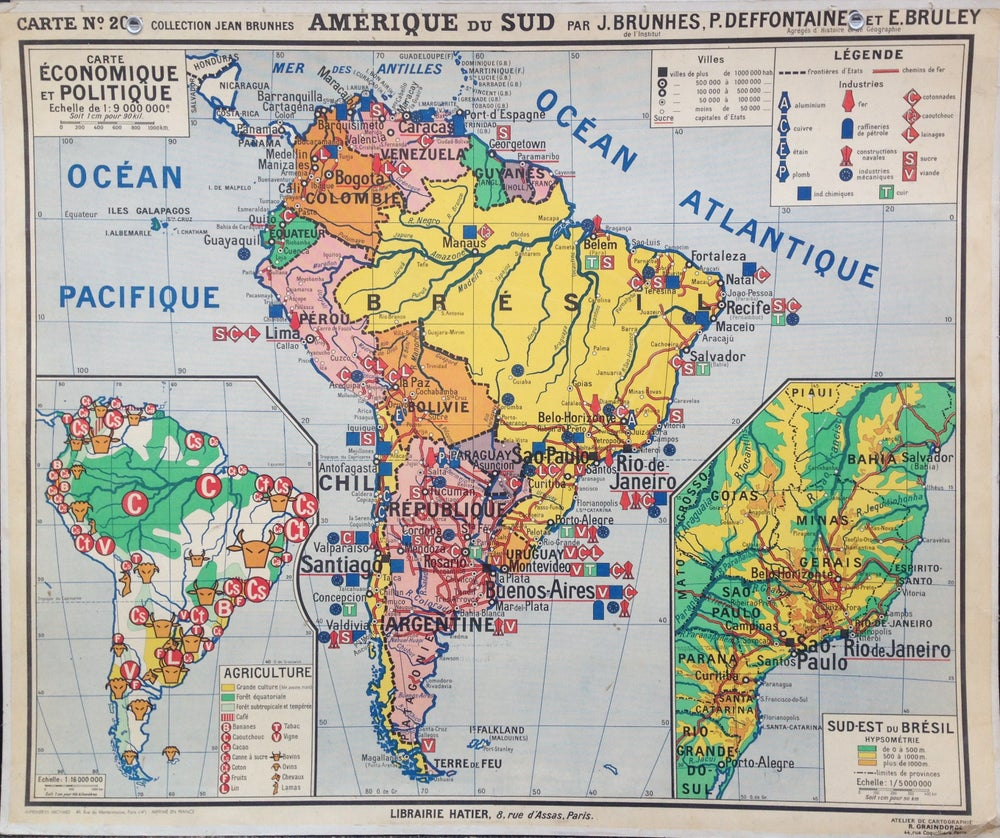 Image of 1950s Map of South America