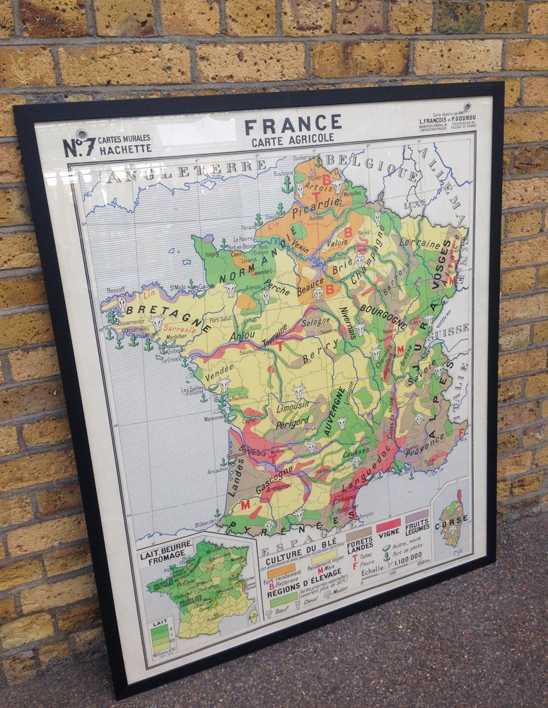 Image of 1950s Agricultural Map of France