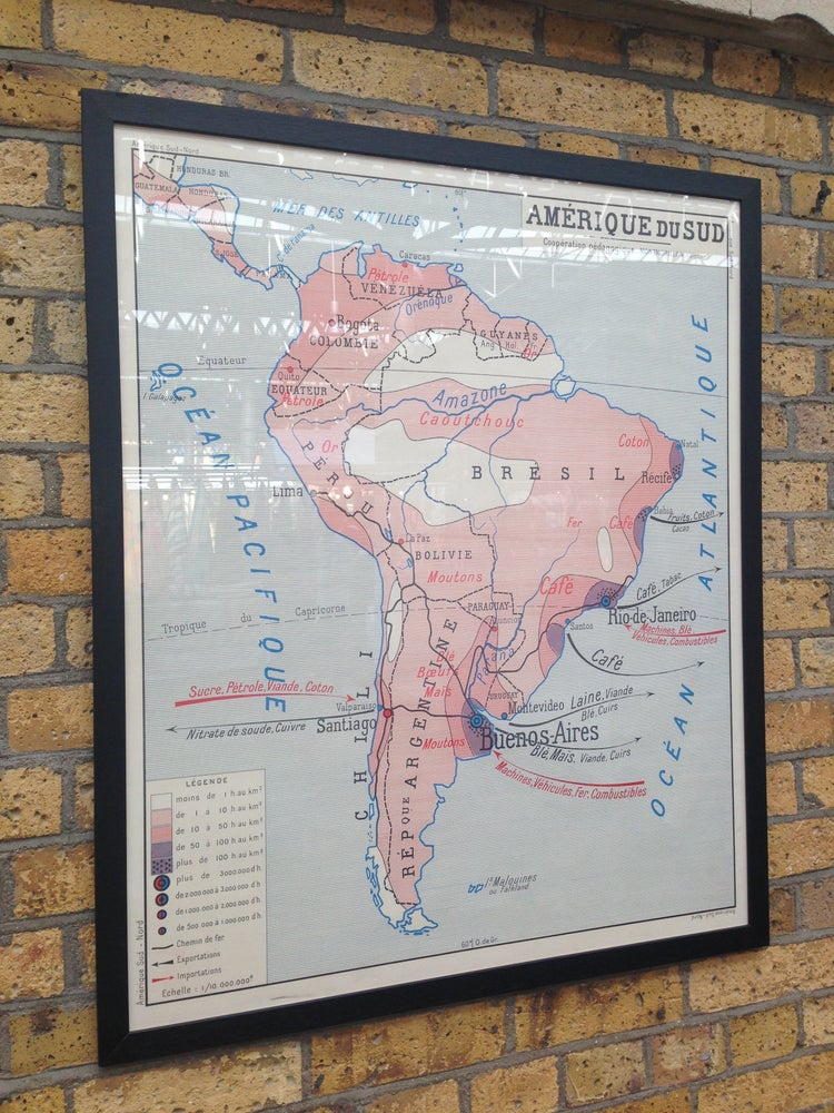 Image of 1950s French School Map of South America