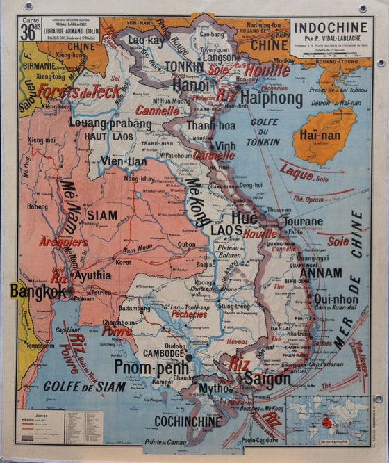 Image of 1960s Map of Madagascar & Indochina