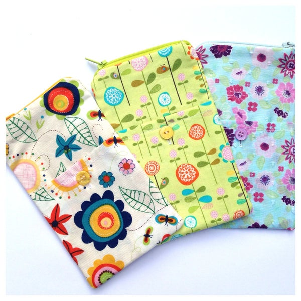 Image of Patterned Zippered with Side Button PocketiPhone Gadget Case