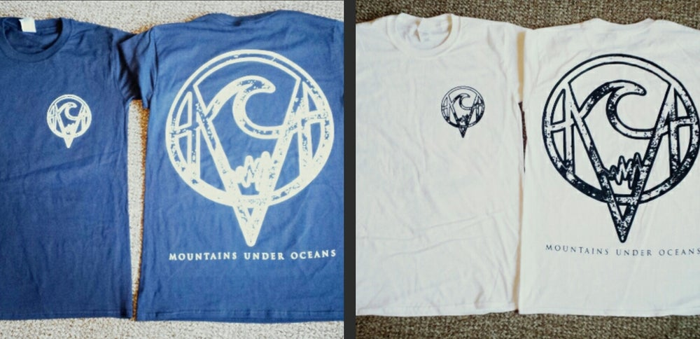 Image of Navy Mountains Under Oceans T-Shirt, White Ink, Pocket and Full Back Design
