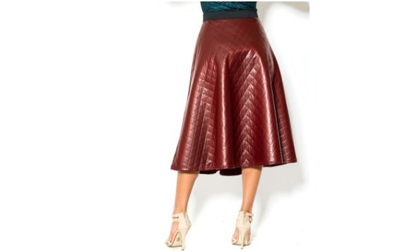 Image of Burgundy Diamond Leather Skirt