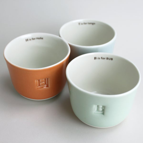 Image of custom letter and name </br>wee tea cup: made to order