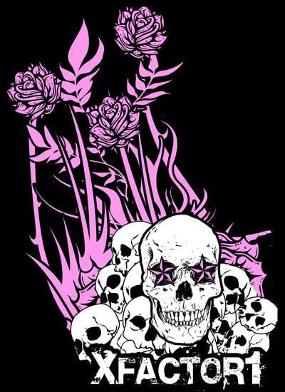 Image of XFactor1 Rose Skull Shirt Womens