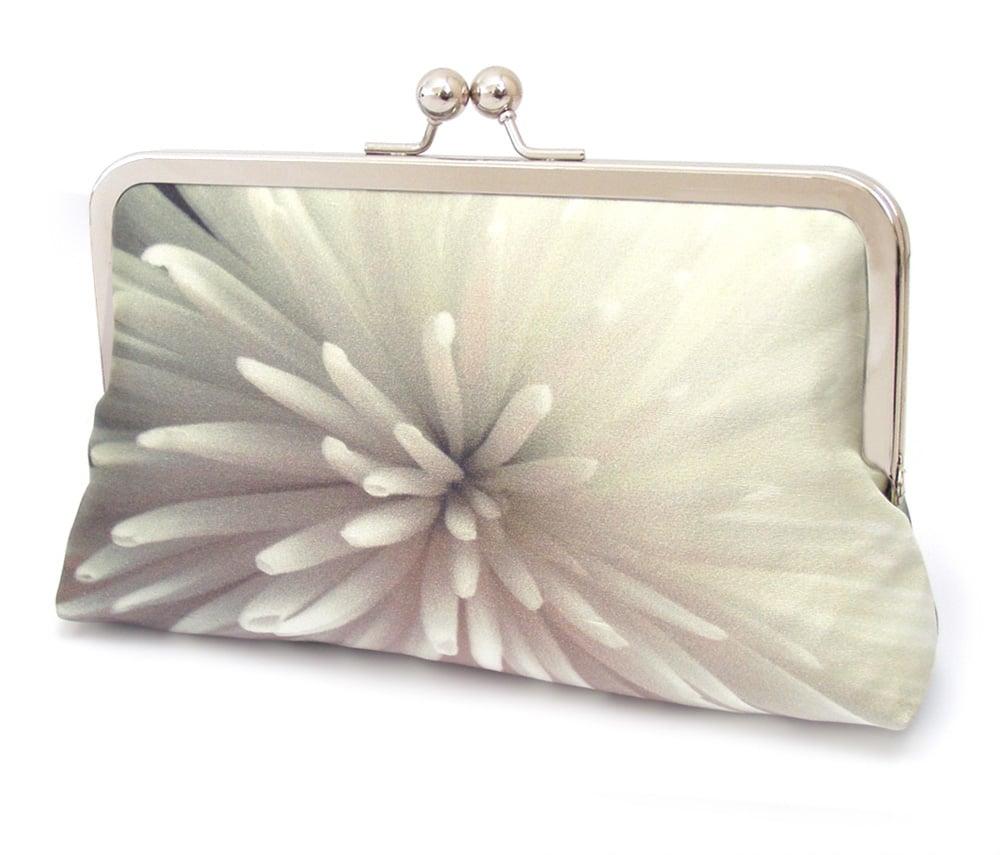 Image of Star chrysanthemum floral clutch bag, silk purse, white bridal purse