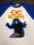 "Image of ""HAIRY MADMAN"" RAGLAN white/blue"