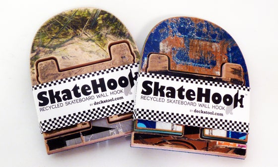 Image of SkateHook - Recycled Skateboard Wall Hooks - Set of (2) Two - Free (USA) Shipping.