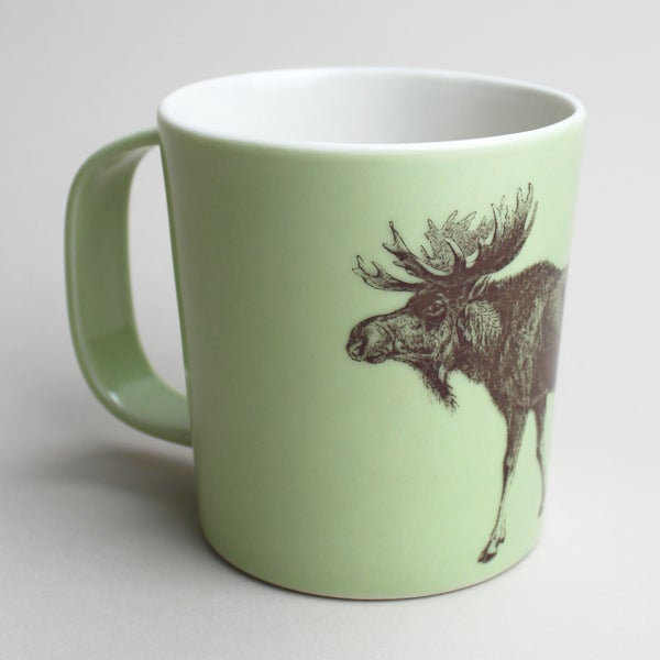 Image of 16oz mug with moose, avocado