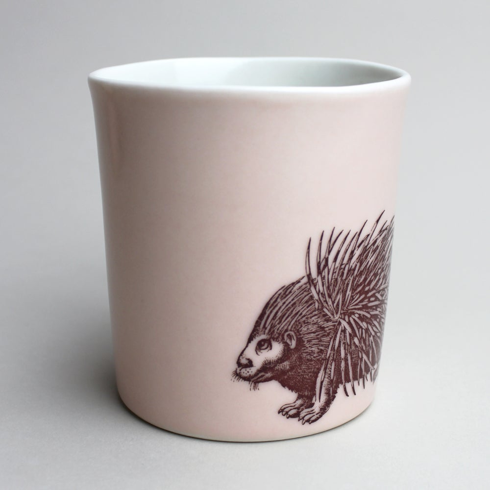 Image of 16oz mug with porcupine, rose
