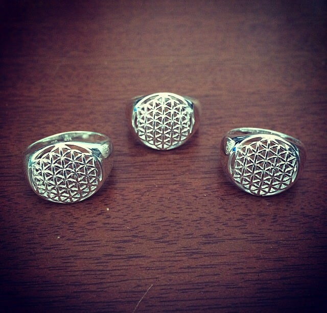Image of Sterling silver flower of life ring