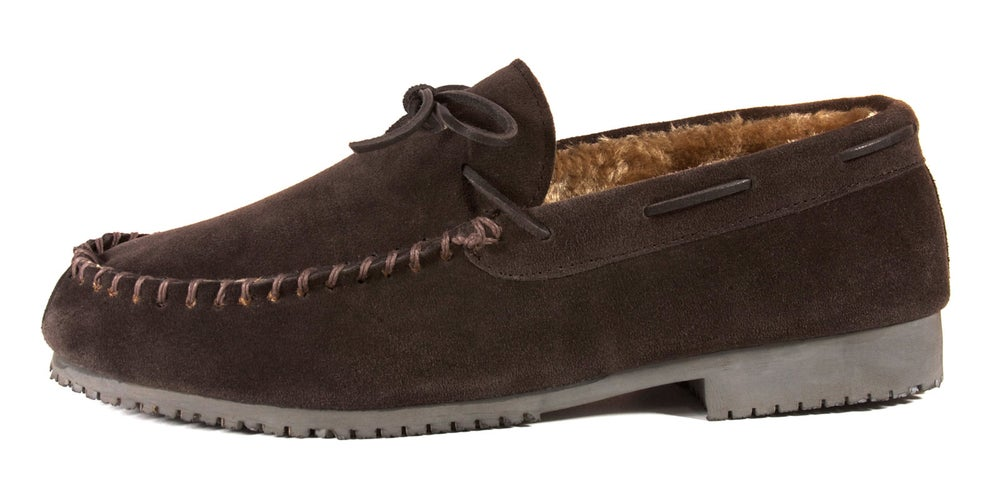 Image of Homiegear Moccasin Cow Suede Dark Brown with fur