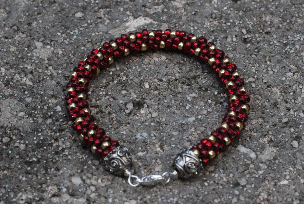 Image of Fan Favorite Series: Garnet and Gold Kumihimo Bracelet