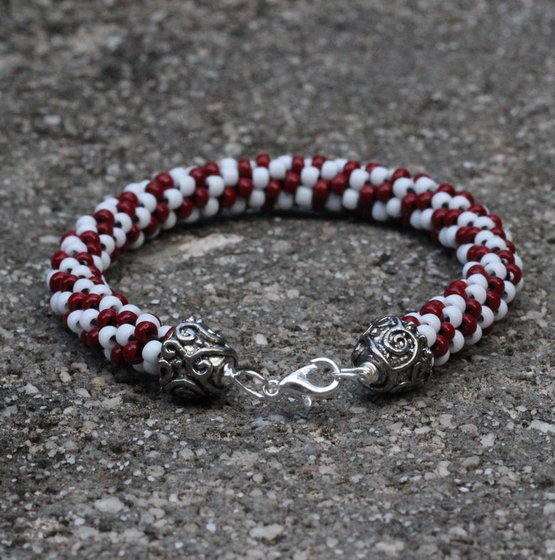 Image of Team Favorite Series: Crimson and White Kumihimo Bracelet