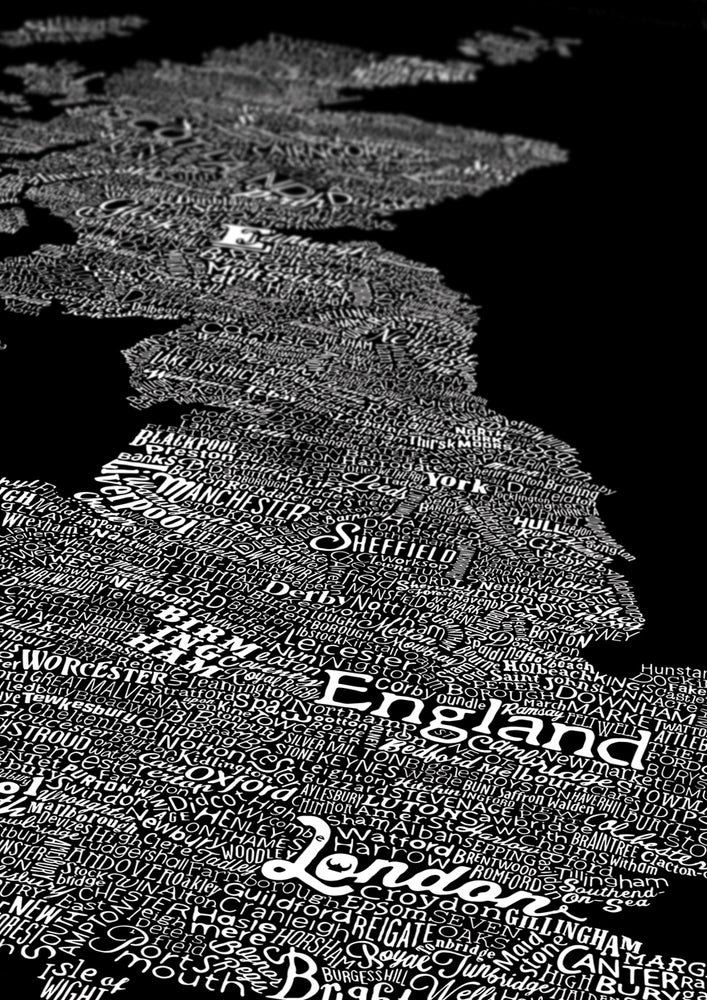 Image of Great British Type Map (Black, 2014)