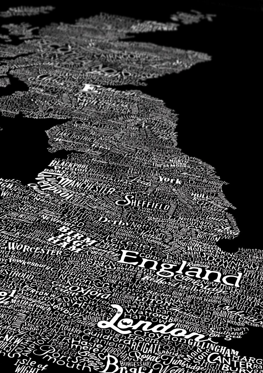 Image of Great British Type Map (Black)