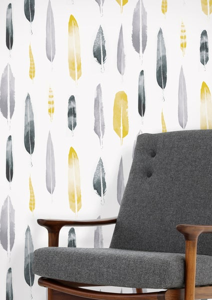 Image of Feathers Wallpaper - Mustard