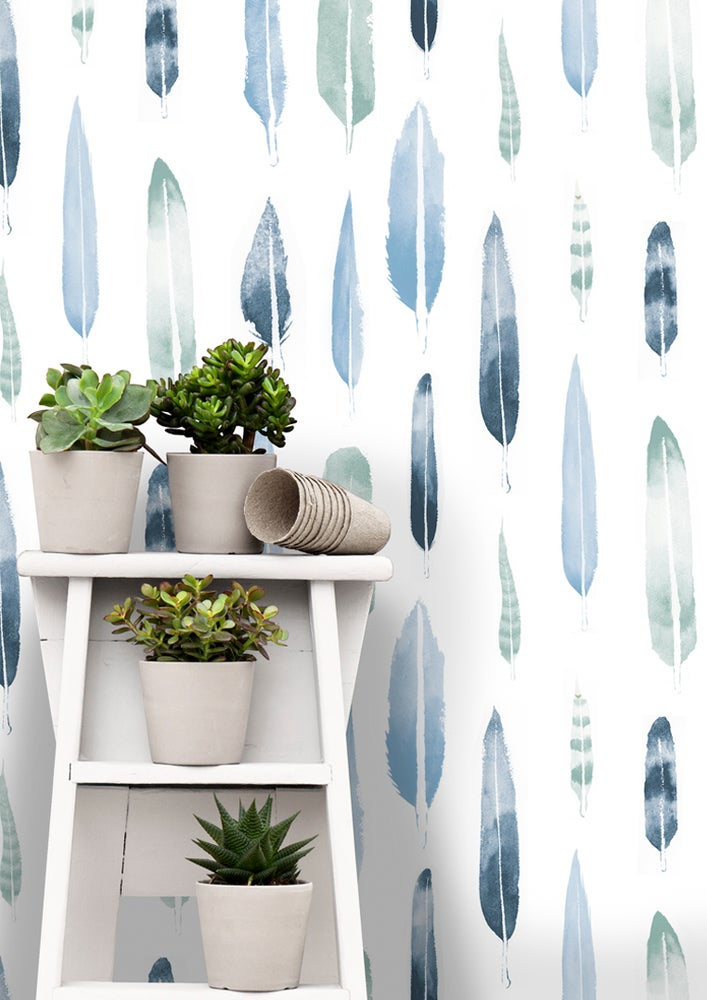 Image of Feathers Wallpaper - Chalkhill Blue