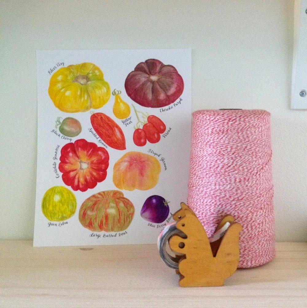 Image of heirloom tomatoes print