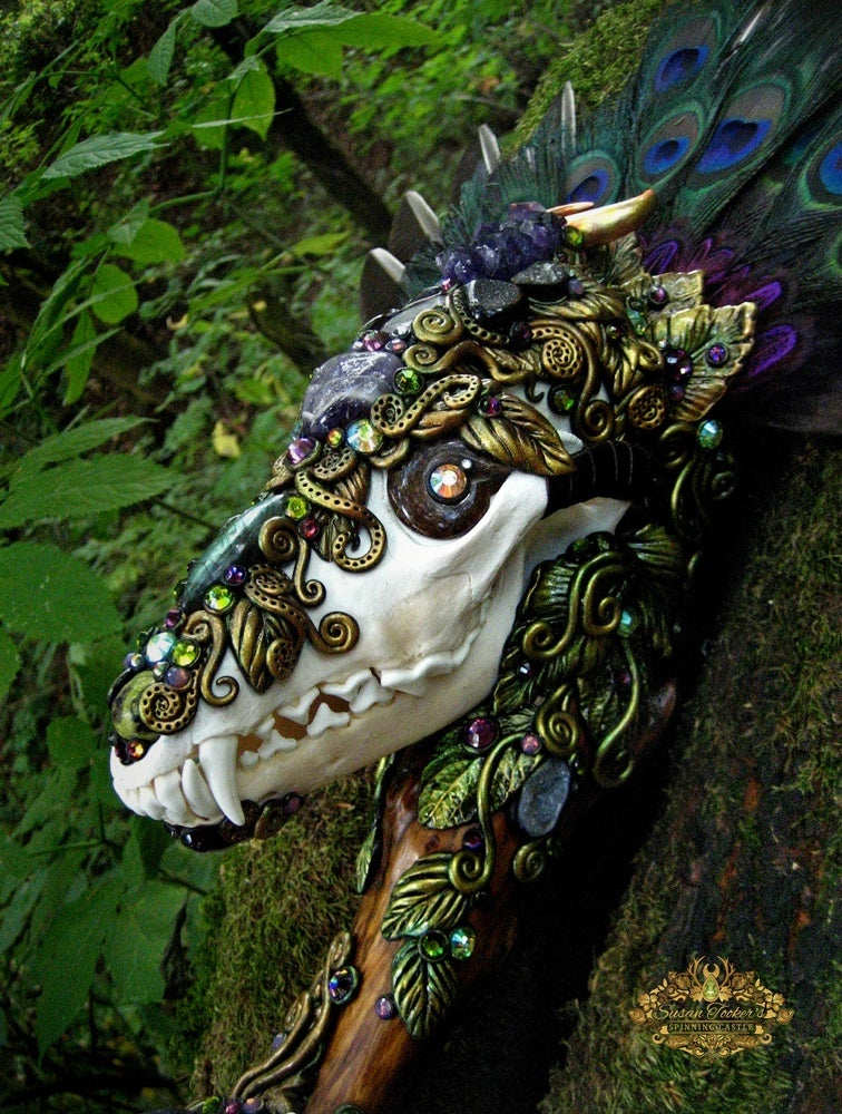 Image of COYOTE SPIRIT - Pagan Skull Crystal Scepter Wand Totem Magick Shaman Altar Art