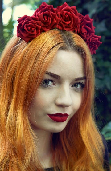 Image of Wild Rose Crown Dark Crimson Red