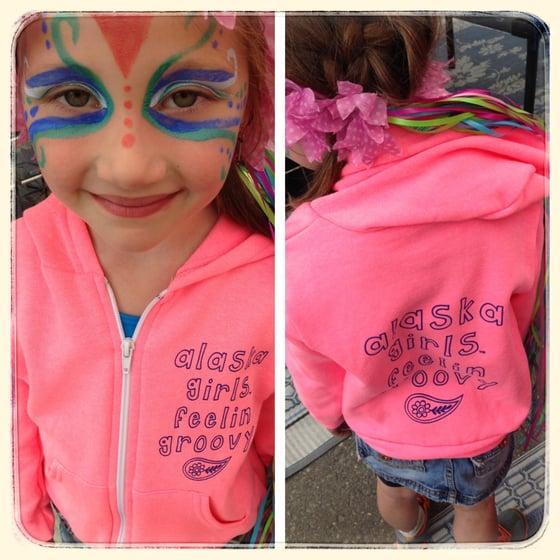 Image of Neon Pink Alaska Girls Feelin Groovy Hoodie