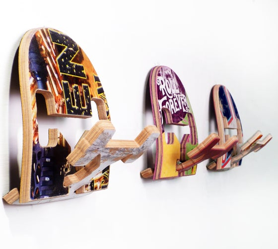 Image of SkateHook - Recycled Skateboard Wall Hooks - Set of (3) Three - Free (USA) Shipping.