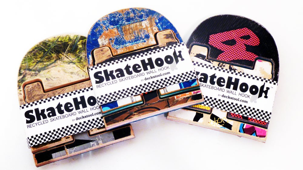 Image of SkateHook - Recycled Skateboard Wall Hooks - Set of (3) Three