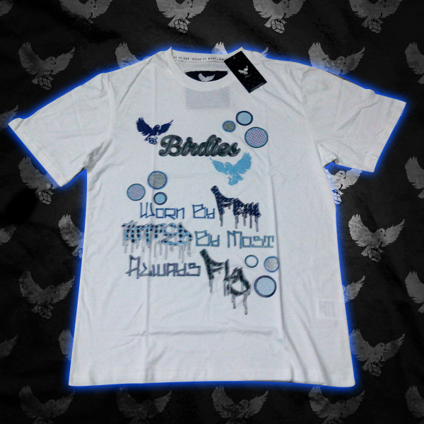 Image of White/Blue Always Fly Bubble T Shirt