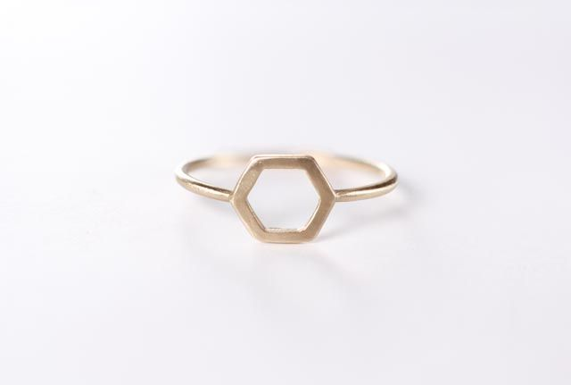 Image of Hexagon 14k Gold Ring