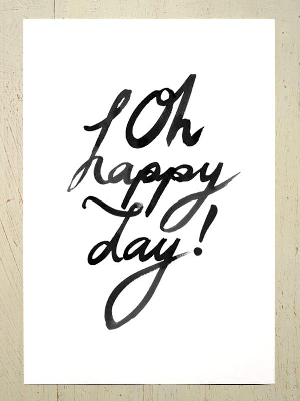 Image of Oh happy day! art print - Black