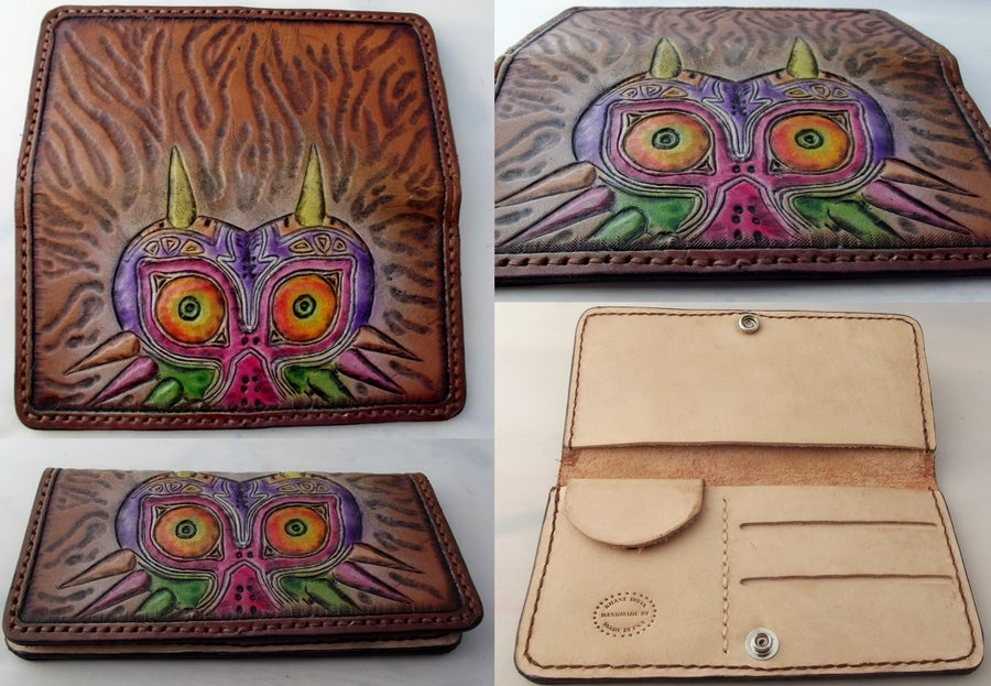 Image of Custom Hand Tooled Leather Women's Clutch Wallet. Your image/design or idea. Ladies roper style.